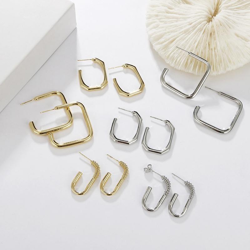 geometric metal square punk style earrings wholesale jewelry Nihaojewelry NHAYN396850