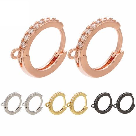 Großhandel Farbe Mikro-Intarsien Zirkon Kupfer Ohrclip Nihaojewelry NHZK396331's discount tags