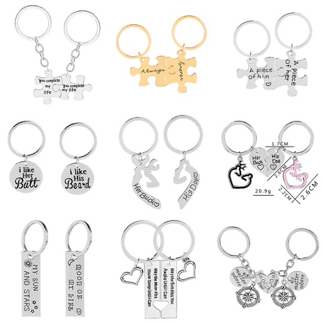 wholesale letter puzzle pendant keychain nihaojewelry  NHMO396499's discount tags