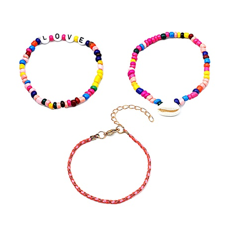 wholesale jewelry bohemian style shell letter color beaded bracelet three-piece set nihaojewelry  NHMO396509's discount tags