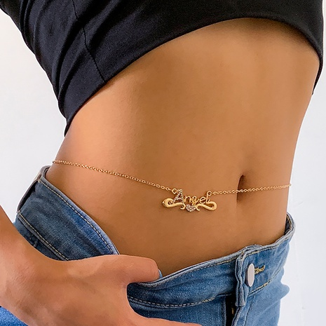 Großhandel Mode herzförmige Diamantbuchstaben einlagige Taillenkette Nihaojewelry NHXR397025's discount tags