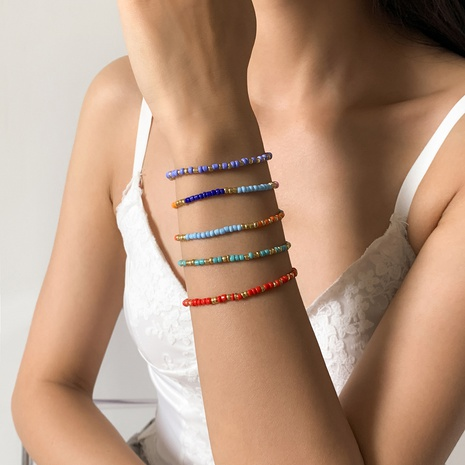 contrast color rice bead bohemia style adjustable bracelet set wholesale jewelry Nihaojewelry NHXR397041's discount tags