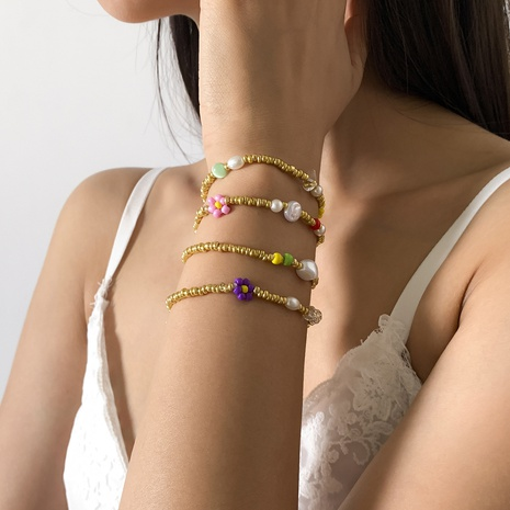 flower imitation pearl rice bead adjustable bracelet set wholesale jewelry Nihaojewelry NHXR397043's discount tags