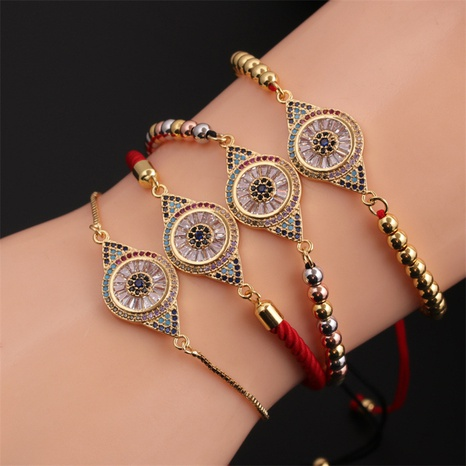 Kupfer eingelegtes Zirkonauge gewebtes Retro- verstellbares Armband Großhandel Schmuck Nihaojewelry NHYL397050's discount tags