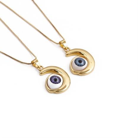 wholesale collar de cobre colgante de ojo malvado multicolor de moda Nihaojewelry NHYL397052's discount tags