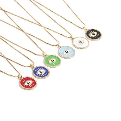wholesale Cadena de clavícula colgante de ojo de diablo de aceite de goteo de oro real chapado en cobre coreano Nihaojewelry NHYL397067's discount tags