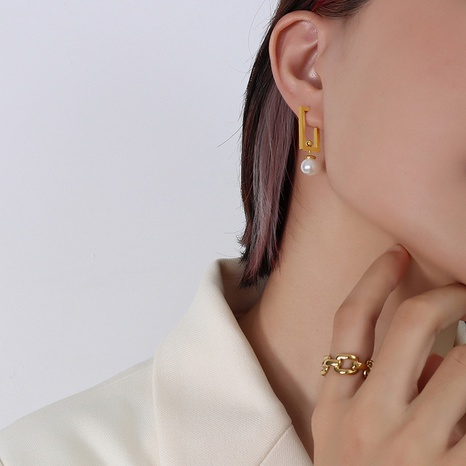 wholesale Retro-Titanstahl überzogene 18k vergoldete abnehmbare Multi-Wear-Perlenohrringe Nihaojewelry NHOK396670's discount tags