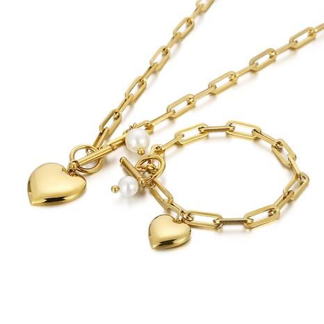 fashion stainless steel peach heart OT buckle necklace bracelet set wholesale Nihaojewelry  NHKAL412863's discount tags