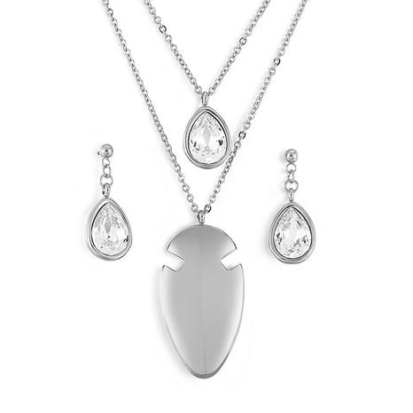new style stainless steel zircon drop necklace earrings set wholesale Nihaojewelry  NHKAL412864's discount tags