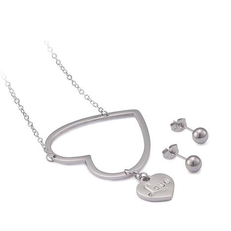 New Double Heart Titanium Steel Necklace Earrings Set Wholesale Nihaojewelry  NHKAL412883's discount tags