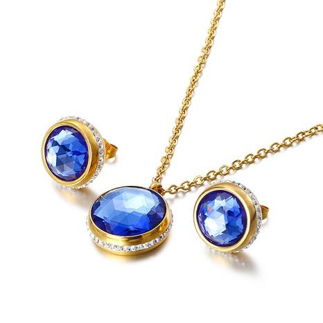 Korean titanium steel inlaid round zircon necklace earrings set wholesale Nihaojewelry  NHKAL412910's discount tags