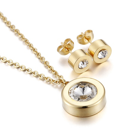 simple titanium steel round single necklace earring set wholesale Nihaojewelry  NHKAL412915's discount tags