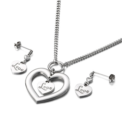 new Korean style hollow double heart-shaped necklace earrings set wholesale Nihaojewelry  NHKAL412918's discount tags