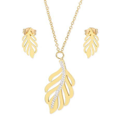 fashion geometric hollow leaf clavicle chain earring set wholesale Nihaojewelry  NHKAL412921's discount tags