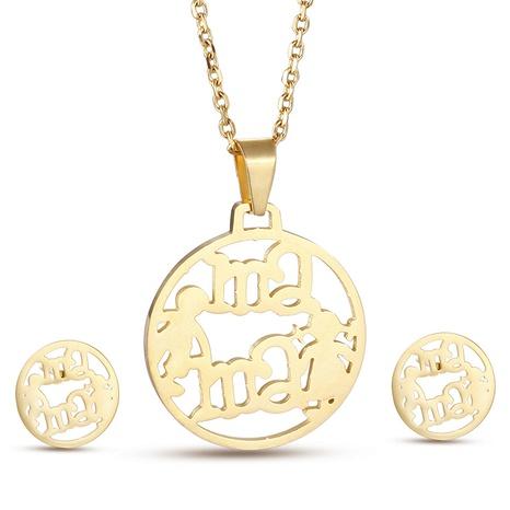 fashion hollow letter mama titanium steel jewelry set wholesale Nihaojewelry  NHKAL412931's discount tags