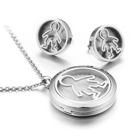 fashion hollow little boy stainless steel necklace earring set wholesale Nihaojewelry  NHKAL412935's discount tags