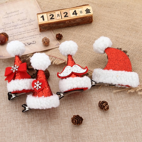 cute Christmas sequined hat hairpin wholesale Nihaojewelry NHGAL413203's discount tags