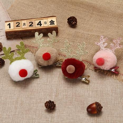 cute Christmas elk ball hair clip wholesale Nihaojewelry NHGAL413205's discount tags