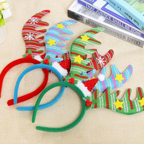 Christmas fabric stripe antler headband wholesale Nihaojewelry NHGAL413220's discount tags