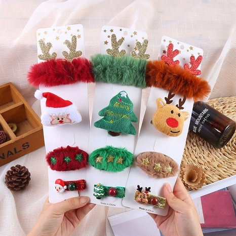 Christmas Cartoon Elk Tree Plush Brooch Hairpin Set Wholesale Nihaojewelry NHGAL413229's discount tags