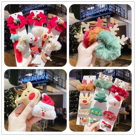 cute Christmas Santa hat snowman elk hair clip set wholesale Nihaojewelry NHGAL413233's discount tags