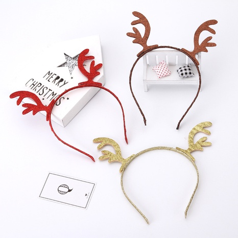 Christmas Color Antler Hair Head Ornaments Wholesale Nihaojewelry NHGAL413278's discount tags