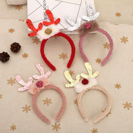 Christmas color antlers plush headband wholesale Nihaojewelry NHGAL413280's discount tags