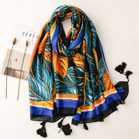 ethnic blue-yellow contrast color big leaves shawl wholesale Nihaojewelry NHGD413344's discount tags