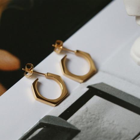 fashion hexagonal nut titanium steel plated 18K gold earrings wholesale Nihaojewelry  NHGC413432's discount tags