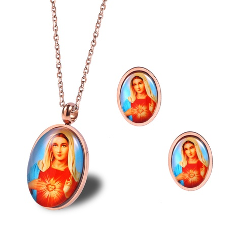 Fashion Virgin Mary Portrait Titanium Steel Necklace Stud Earring Set Wholesale Nihaojewelry  NHRV413501's discount tags