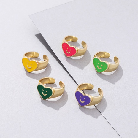 fashion cartoon heart-shaped smiley opening adjustable ring wholesale nihaojewelry NHYIA413521's discount tags