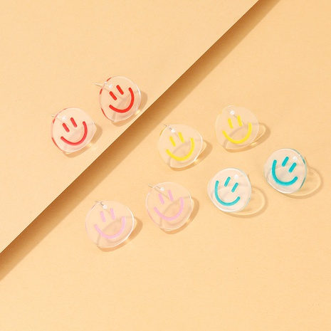 cartoon smiley resin transparent smiley earrings wholesale Nihaojewelry NHYIA413527's discount tags