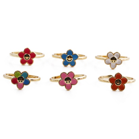 Korea vintage multi-color oil dripping flower smiley copper ring wholesale nihaojewelry NHYL413631's discount tags