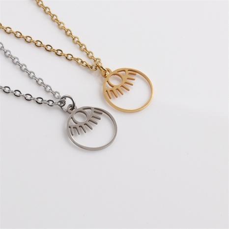 bisutería mayoreo hueca redonda ojo de diablo colgante collar de acero inoxidable nihaojewelry NHYL413676's discount tags