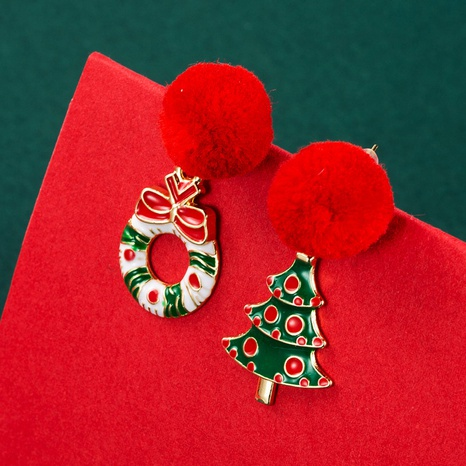 Christmas Series Snowman Elk Tree Asymmetrical Earrings Wholesale Nihaojewelry NHLN413703's discount tags