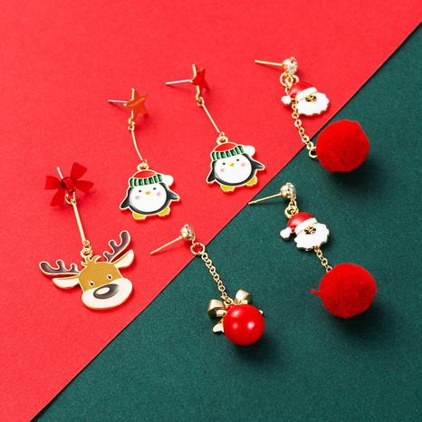 Christmas Series Santa Hair Ball Penguin Elk Pendant Earrings Wholesale Nihaojewelry NHLN413704's discount tags