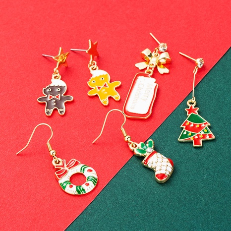 Christmas series tree little snowman stocking earrings wholesale Nihaojewelry NHLN413705's discount tags