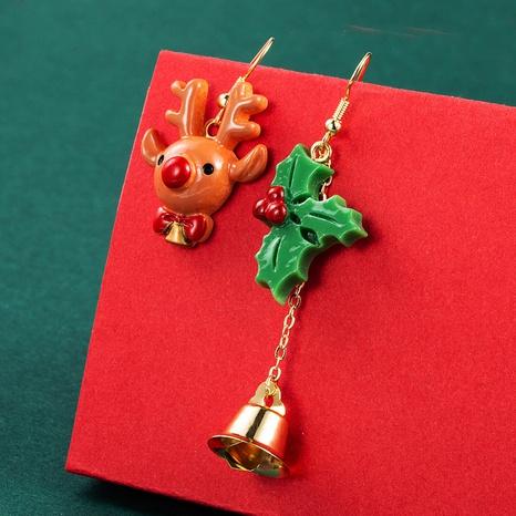Christmas Series Resin Elk Snowman Stocking Bell Pendant Earrings Wholesale Nihaojewelry NHLN413708's discount tags