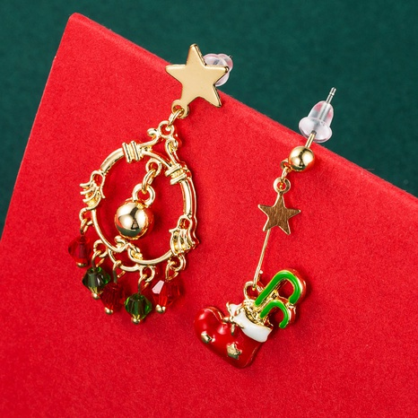 Christmas Series Gift Ring Tree Asymmetrical Ear Hook Wholesale Nihaojewelry NHLN413712's discount tags