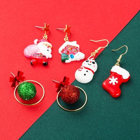 Christmas Santa Claus Balls Stocking Snowman Pendant Earrings Wholesale Nihaojewelry NHLN413713's discount tags