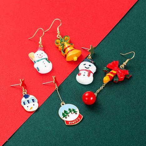 Christmas series glass ball resin snowman asymmetric long earrings wholesale Nihaojewelry NHLN413717's discount tags