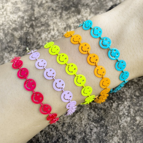 new multicolor hollow smiley face splicing bracelet wholesale Nihaojewelry  NHAS413730's discount tags