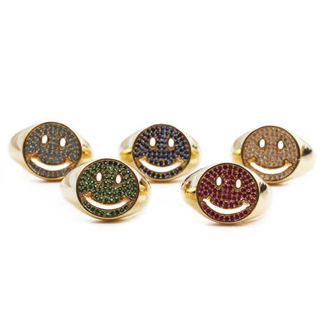 punk copper round smiley face inlaid zircon opening adjustable ring wholesale nihaojewelry NHYL413795's discount tags