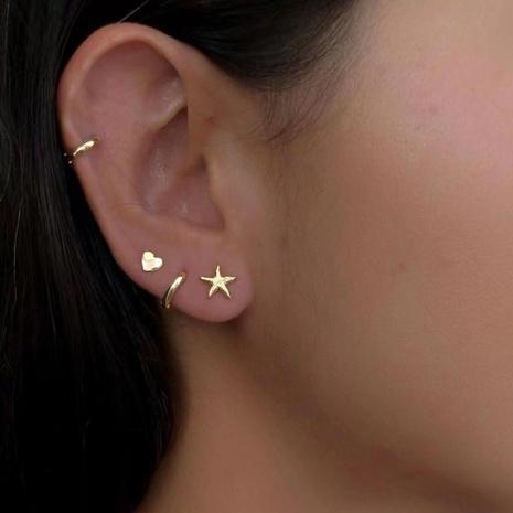 Bijoux Qingdao Daiwei Bijoux européens et américains simples boucles d'oreilles en métal étoile coeur de pêche ensemble de boucles d'oreilles NHLU413859's discount tags
