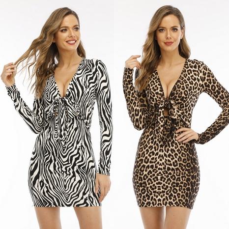 Vestido de manga larga con estampado de leopardo sexy al por mayor Nihaojewelry NHUO414703's discount tags