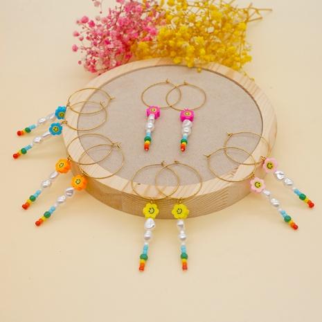 Bohemian glass beads soft pottery flower smiley earrings wholesale Nihaojewelry NHYUZ414012's discount tags