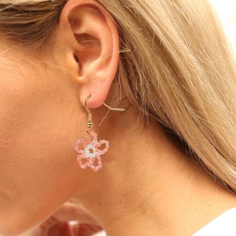 Bohemian pink geometric beads flowers earrings wholesale Nihaojewelry NHYUX414096's discount tags