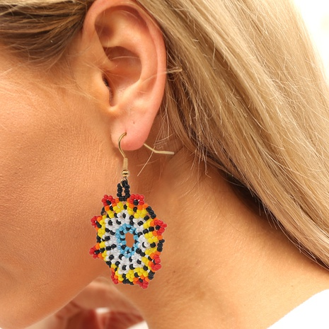 retro hand-made rice bead color gradient flower earrings wholesale Nihaojewelry NHYUX414097's discount tags