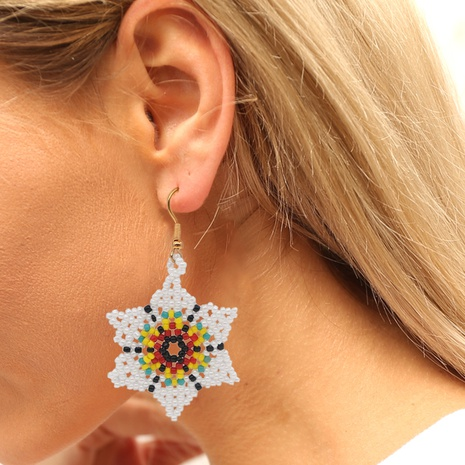 bohemian handmade colorful flower heart round beads earrings wholesale Nihaojewelry NHYUX414098's discount tags