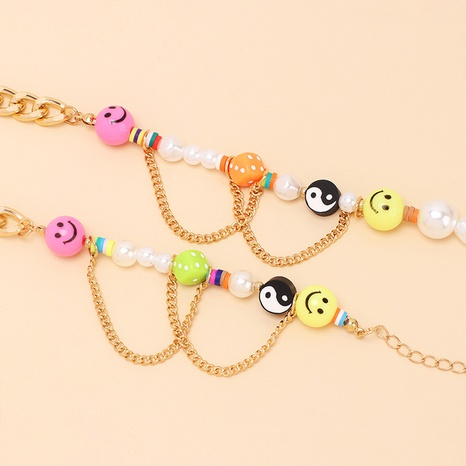Cute Tai Chi Smiley Pearl Necklace Bracelet wholesale jewelry Nihaojewelry NHRN414291's discount tags